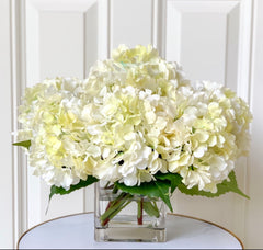 Real Touch White/Cream Hydrangea - Finest Artificial Flowers Arrangement