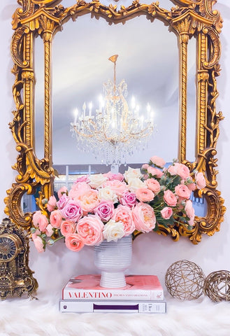 "23"" Large Real Touch Centerpiece-Large Pink Real Touch Flower Arrangement-Pink Rose Centerpiece-Large Faux Arrangement-Large Real Touch Rose"