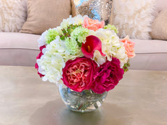 Real Touch Centerpiece English Magenta Roses Arrangement Mixed Pink Rose,  Carnation And White Hydrangea - Faux Arrangement - Flovery