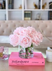 Large Dinner Table Centerpiece-Large Flower Arrangement-Large Real Touch Flower Arrangement-Pink Rose Centerpiece-Pink Arrangement