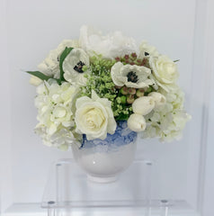 Mixed Real Touch White Flowers In Porcelain Vase - Flovery