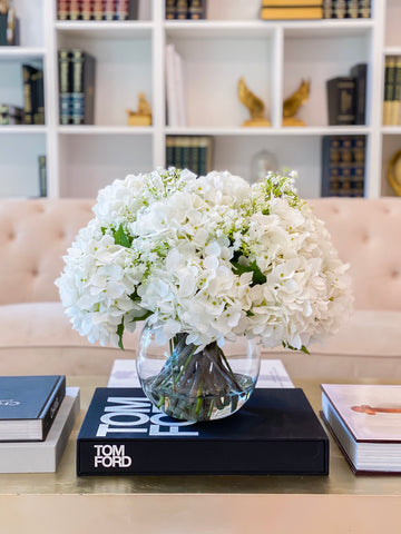 "White Hydrangea Centerpiece-French Hydrangea Arrangement-Large Real Touch French Hydrangea Flower Arrangement-17""Large Hydrangea Arrangement"