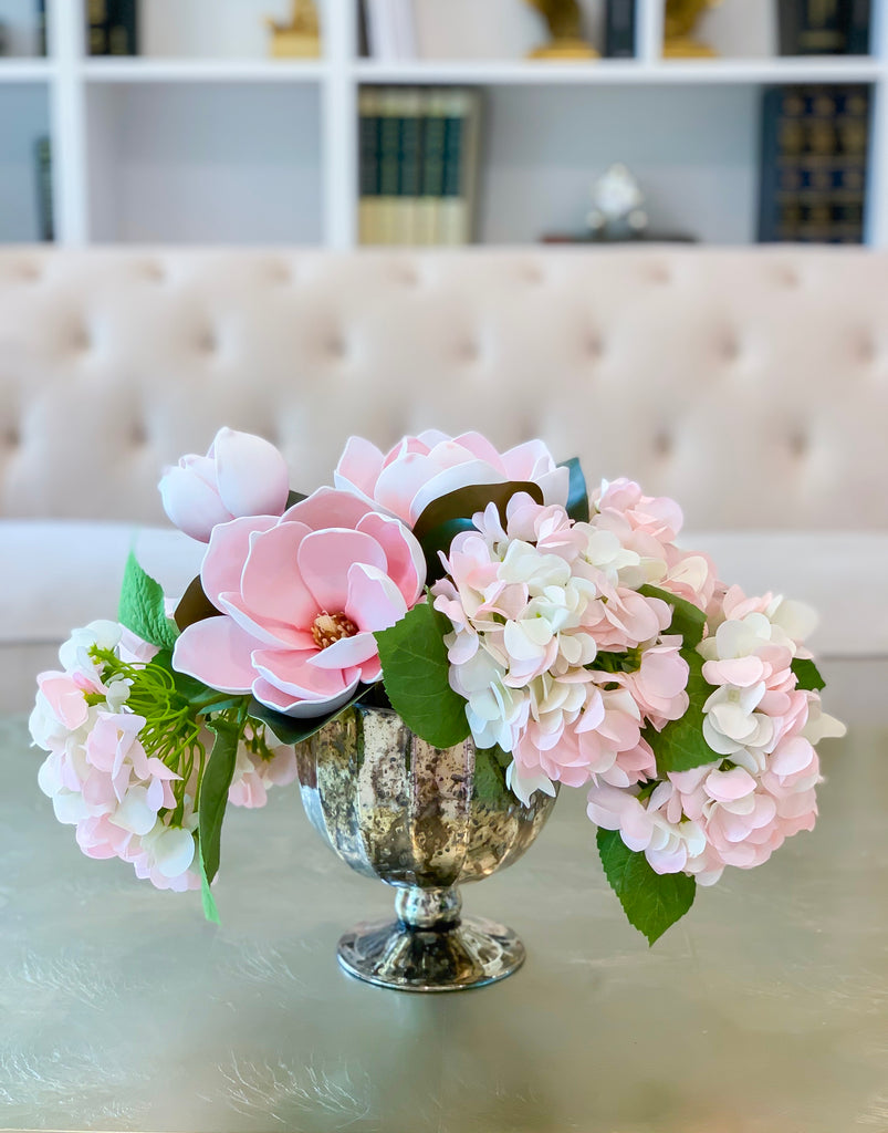 Finest REAL TOUCH Magnolia/Hydrangea Arrangement - pink/white/blush Real Touch Hydrangea -Faux Magnolia Arrangement - Magnolia Centerpieces - Flovery