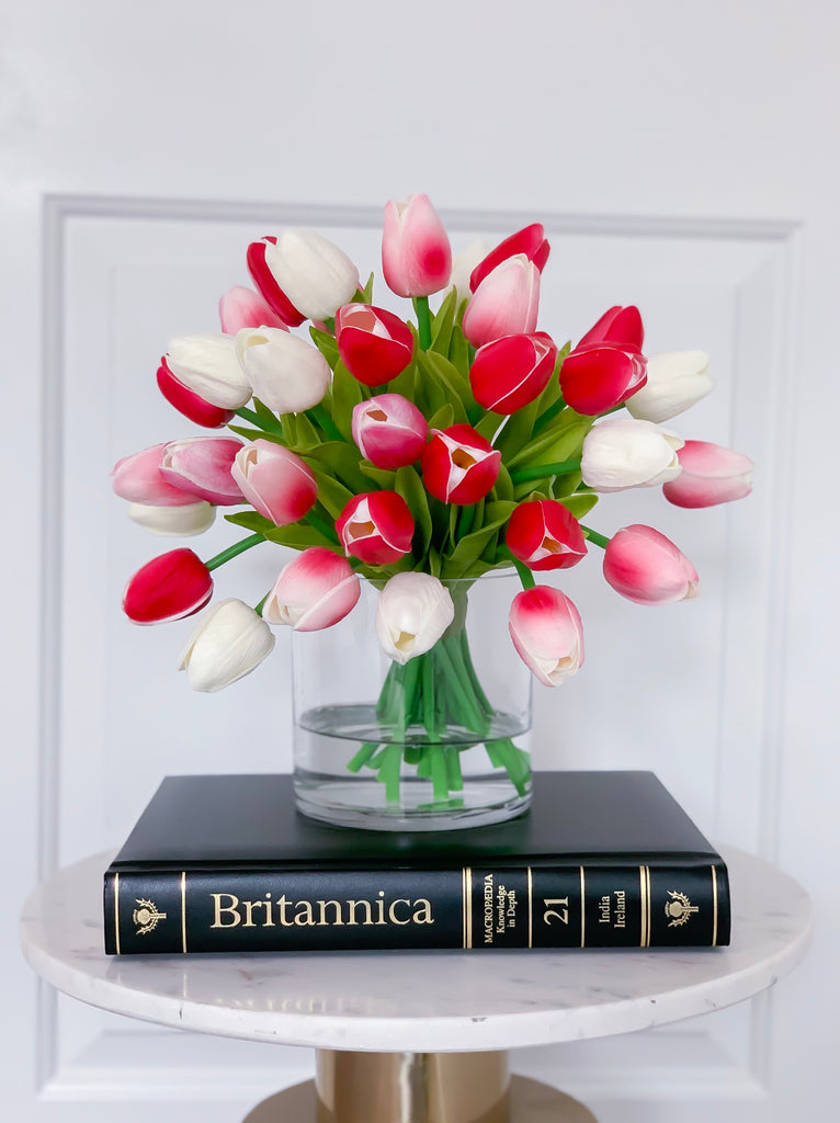"13"" Tulips Real Touch Centerpiece-Real Touch Flower Arrangement-Pink Real Touch Tulip Arrangement-Faux Tulip Arrangement-Magenta Tulip - Flovery"