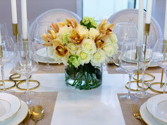 30 Real Touch White Cream Roses Orchids Centerpiece - Flovery