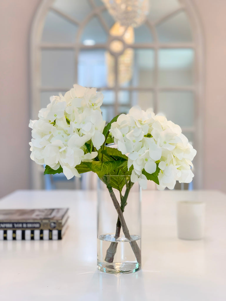 "13"" REAL TOUCH Flower Arrangement White Hydrangea-Real Touch Hydrangeas Arrangement-White Centerpiece -Real Touch Centerpiece-Faux hydrangea - Flovery"