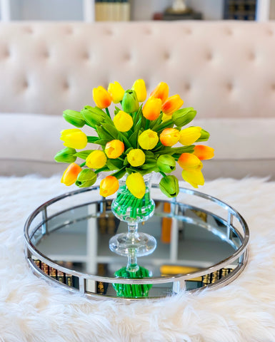 Faux Yellow Tulip Arrangement-Real Touch Centerpiece;Real Touch Tulip Centerpiece-Yellow Silk Tulip Arrangement in Acrylic Water - Flovery
