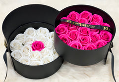 Scented Soap Mixed Hot Pink and White Rose In Elegant Double Gift Box
