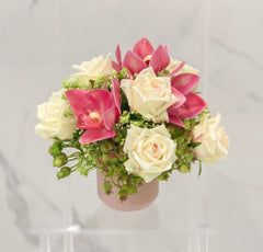 Real Touch Rose And Orchid In Ceramic Vase - Flovery