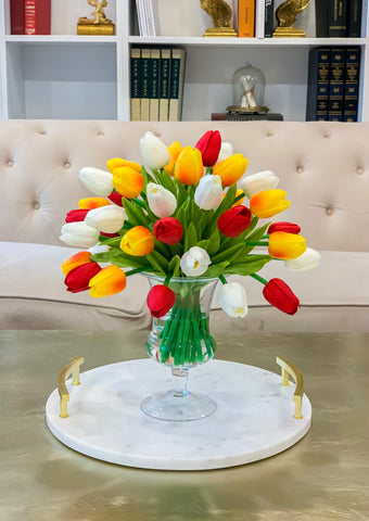 Real Touch Flowers Centerpiece-Real Touch Tulip Arrangement-Faux Tulip Arrangement-Silk Tulip-Red Tulips-White Tulip-Yellow Orange Tulips - Flovery