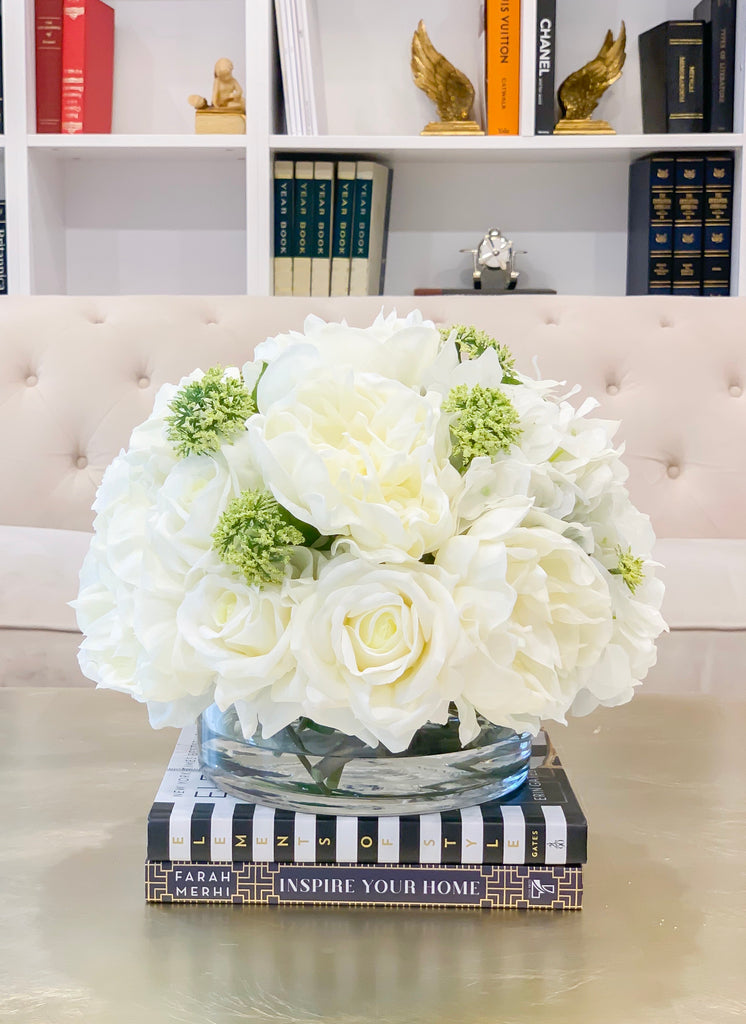 Large Real Touch Centerpiece-White Real Touch Roses-Peonies-Hydrangea Arrangement Dining Room-White Floral Arrangement-Luxury Faux Flowers - Flovery