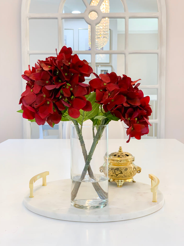 "13"" REAL TOUCH Flower Arrangement Red Hydrangea-Real Touch Hydrangea Arrangement-Dark Red Hydrangea Centerpiece-Table Centerpiece Home Decor - Flovery"