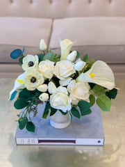 White Calla Lily Orchid Rose Tulip Real Touch Arrangement - Flovery