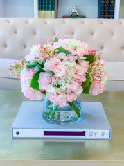 Large REAL TOUCH Flower Arrangement Pink/Green Pastel Hydrangea-Real Touch Hydrangeas Arrangement-White Hydrangea Arrangement-Centerpiece - Flovery