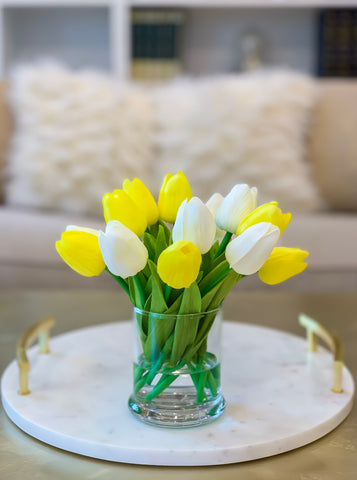 Real Touch Flowers Arrangement-Artificial Flower Arrangement-Yellow Real Touch Tulip-Tulips Centerpiece-Faux Arrangement-Artificial Flower - Flovery