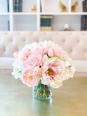 All Real Touch Centerpiece-Floral Arrangement-Pink Roses-Pink Peony -White Hydrangea-Pink Tulip Arrangement - Flovery