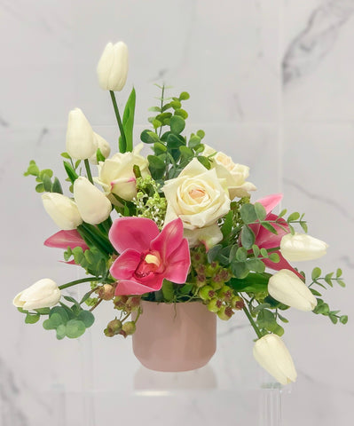 Real Touch Rose, Tulip, Orchid Arrangement Special Design In Ceramic Vase - All Occasion