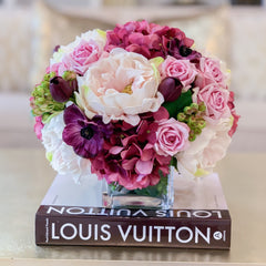 Love and Romance Design-Limited Design-Purple, Lavender, Pink Real Touch Flower Arrangement-Faux Flower Arrangement-Artificial Flowers - Flovery