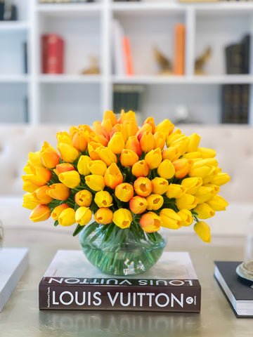 Large Real Touch Flower Arrangement Yellow 100 Tulips-Tulip Arrangement-Yellow/Orange Tulip Centerpiece-Floral Arrangement Yellow Home Decor - Flovery
