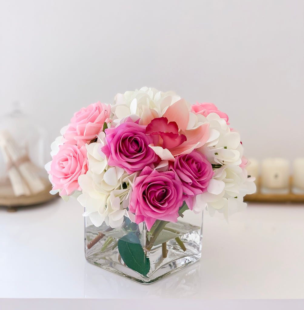Real Touch Rose Centerpiece-Purple Roses-Pink Roses-Real Touch Hydrangea-Pink Orchid- Purple/Pink Arrangement - Flovery