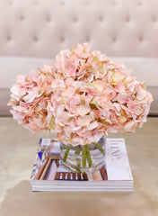 Sink Pink Hydrangea Arrangement Cylinder Glass - Flovery