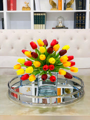 Faux Real Touch Arrangement-Tulips Centerpiece for Dining Table-Red Tulip-Orange Tulip-Yellow Tulip-Arrangement-Real Touch Tulip Arrangement - Flovery