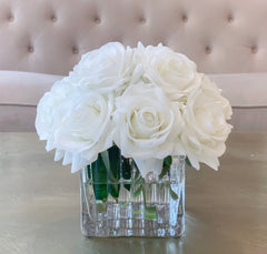 Real Touch White Roses Arrangement In New Design Vase -Artificial Faux Silk Flowers - Centerpiece - Flovery