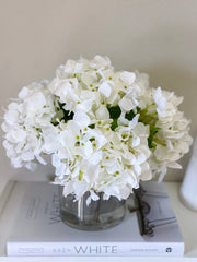 Real Touch French Hydrangea Flower Arrangement-White Hydrangea Centerpiece -Dinner Table Floral Arrangement-Modern Arrangement