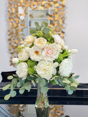"25"" LARGE Flower Arrangement-Large Dining/Room Centerpiece-Real Touch Peonies/Rose Centerpiece-Real Touch Arrangement-Floral Arrangement"