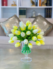 Real Touch Flowers Centerpiece-Real Touch Flower Arrangement-Yellow Real Touch Tulip Arrangement-Faux Tulip Arrangement-Silk Tulip - Flovery