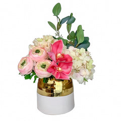 Elegant design Real Touch Hydrangea, Cymbidium Orchid, Ranunculus Arrangement In White Gold Ceramic Vase