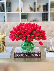 100 Red Tulips- Large Real Touch Flower Arrangement-Tulip Arrangement-Red Tulip Centerpiece- Faux Tulip Floral Arrangement-Table Centerpiece