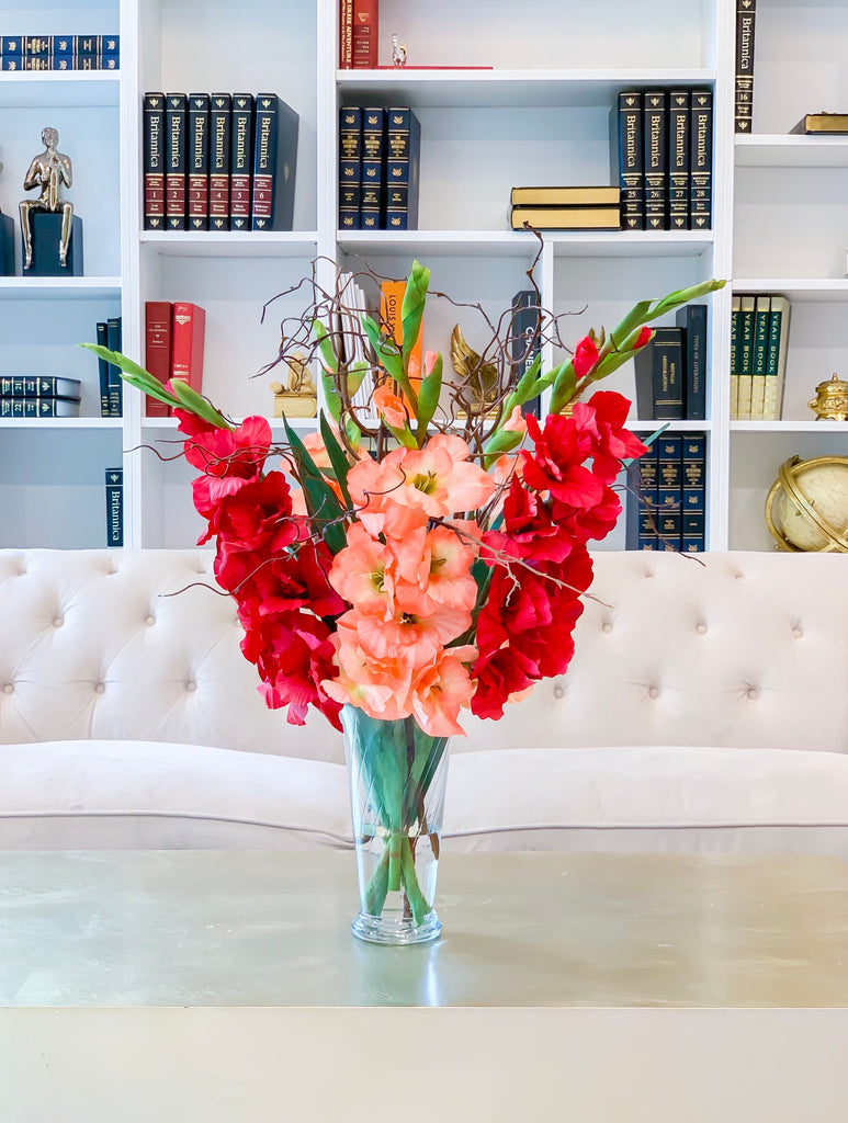 "30"" Large Real Touch Summer arrangement-Gladiola Arrangement-Red-Orange Gladiola- Gladiola Centerpiece-Faux Gladiola-Silk Floral Arrangement - Flovery"
