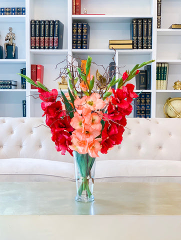 "30"" Large Real Touch Summer arrangement-Gladiola Arrangement-Red-Orange Gladiola- Gladiola Centerpiece-Faux Gladiola-Silk Floral Arrangement"
