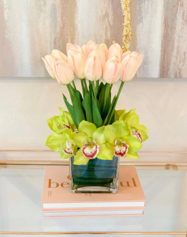 Contemporary Real Touch Tulip, Orchid Arrangement Home Decor Flower Arrangement