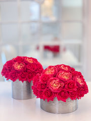 Set of 2 Luxury Real Touch Rose Arrangement in Metal Container-Real Touch Centerpiece-Artificial Flowers Arrangement-Faux Arrangement