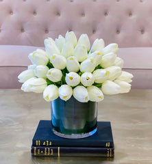Faux Real Touch Tulips Centerpiece-Dining-Natural Touch Tulip-White Tulip-Silk Flower Arrangements-Soft Touch Flowers - Flovery