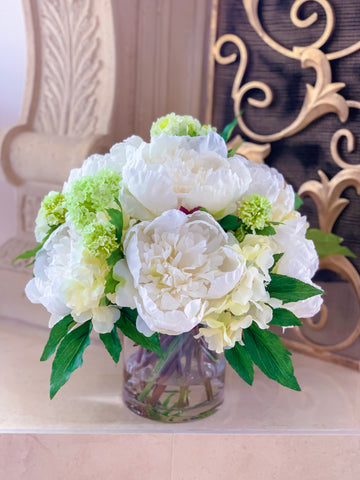 All Real Touch Peonies , Hydrangea Centerpiece Arrangement