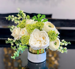 Pure Love Arrangement - Flovery Finest Real Touch Flower In Elegant Glossy Ceramic White Gold Vase - Flovery