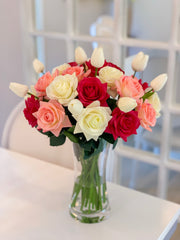 Large Real Touch Flowers Arrangement - Fake Flower - True Touch Roses, Tulip - mixed Colors Roses  - All Occasion - Flovery