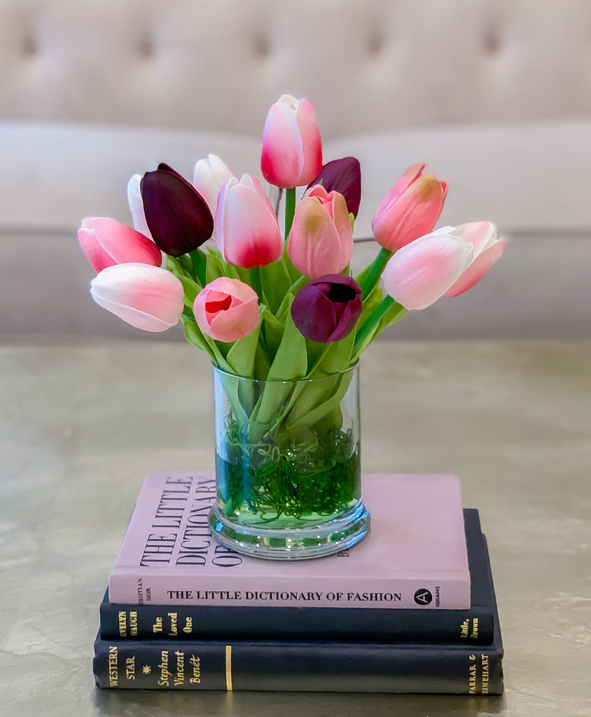 Real Touch White Tulip Arrangement In Glass Vase For Home Decor Coffee Flovery