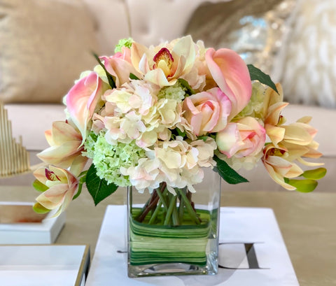 Elegant All Real Touch Arrangement Mixed With Neutral Color Flowers