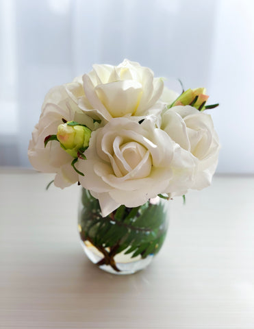 Limited Design Of The Month White Real Touch Roses With Buds Arrangement Home Decor