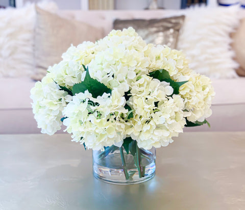 Large Real Touch White Hydrangea In Round Vase