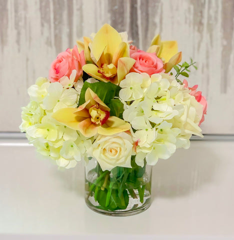 Real Touch Rose, Orchids Mixed With Finest Artificial White Hydrangea In Glass Vase - Home Decor
