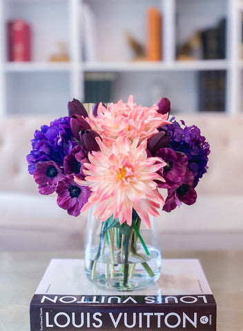 All Real Touch Pink Purple Poppies Dahlias Hydrangeas Arrangement-Purple Flowers Arrangement-Centerpiece Arrangement-Dahlias Arrangements -