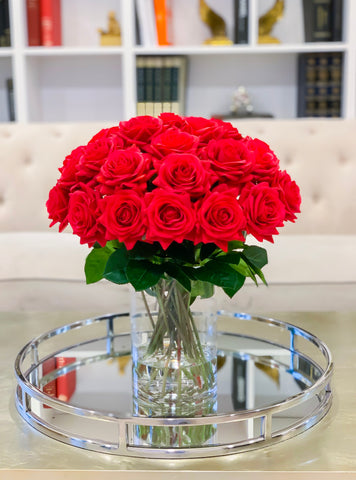 Red Roses Flower Arrangement-Large Rose Arrangement- Real Touch Red Roses -Red Flower Centerpiece for Home Decor-Faux-Silk Rose - Flovery