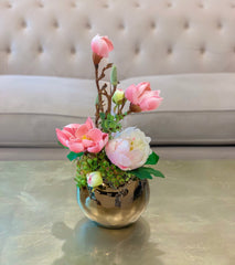Spring Flowers Arrangement - Real Touch Magnolia With Finest Faux Peony In Gold Vase - Flovery