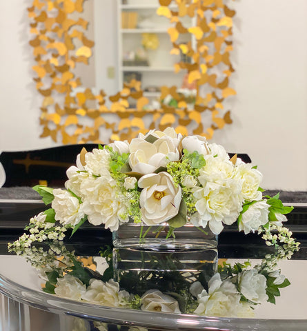Large Real Touch Silk Magnolia Floral Arrangement-Long Table Arrangement-White/Cream Flower Arrangement-Room Centerpiece-Mantle Arrangement