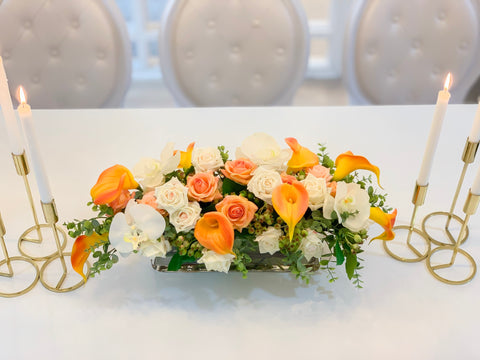 "25"" Large Real Touch Orange Calla Lily Mixed White Rose, Orchid Arrangement- 0range/White Real Touch Flowers Arrangement-Fall Centerpieces - Flovery"